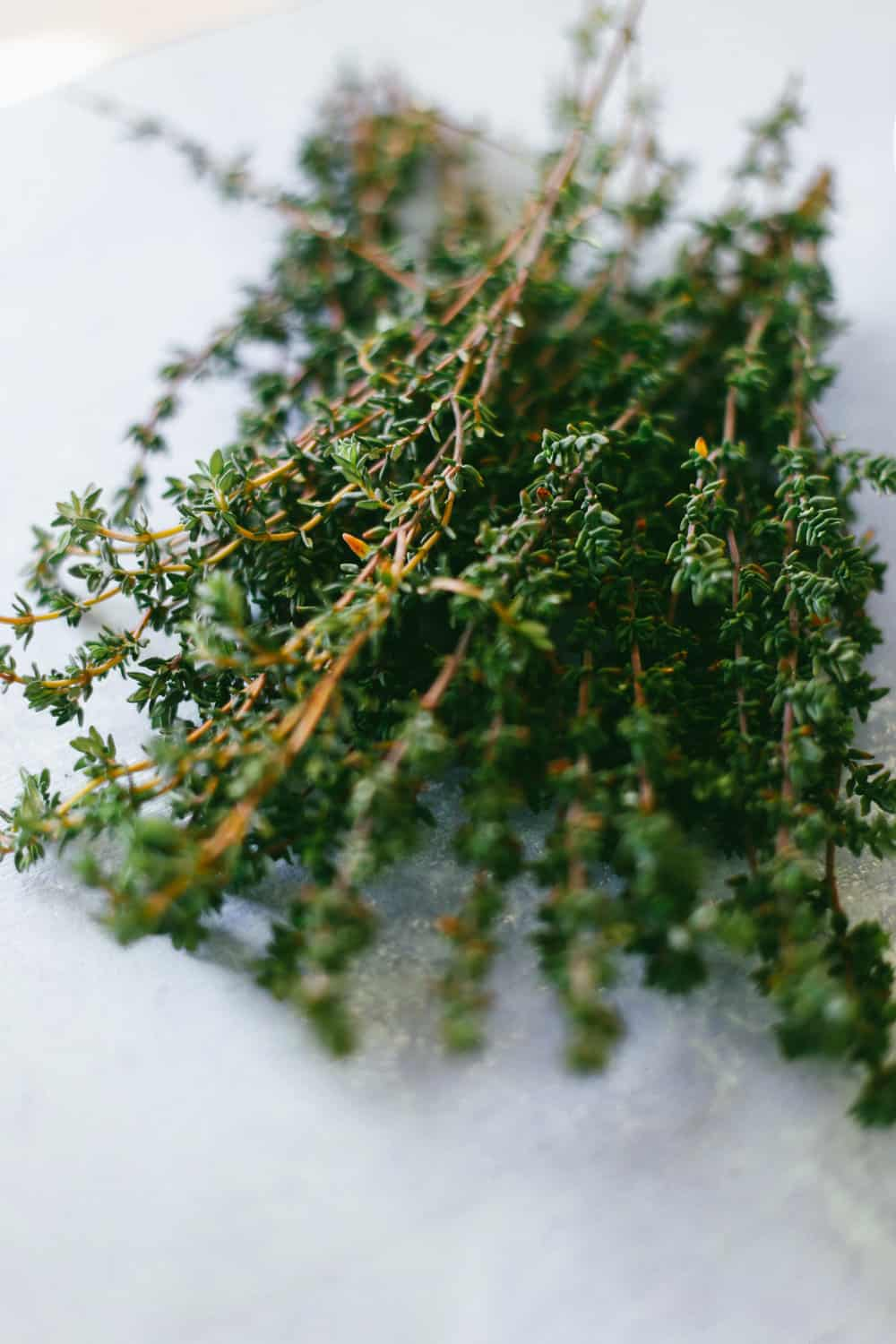 A small bunch of thyme sprigs.