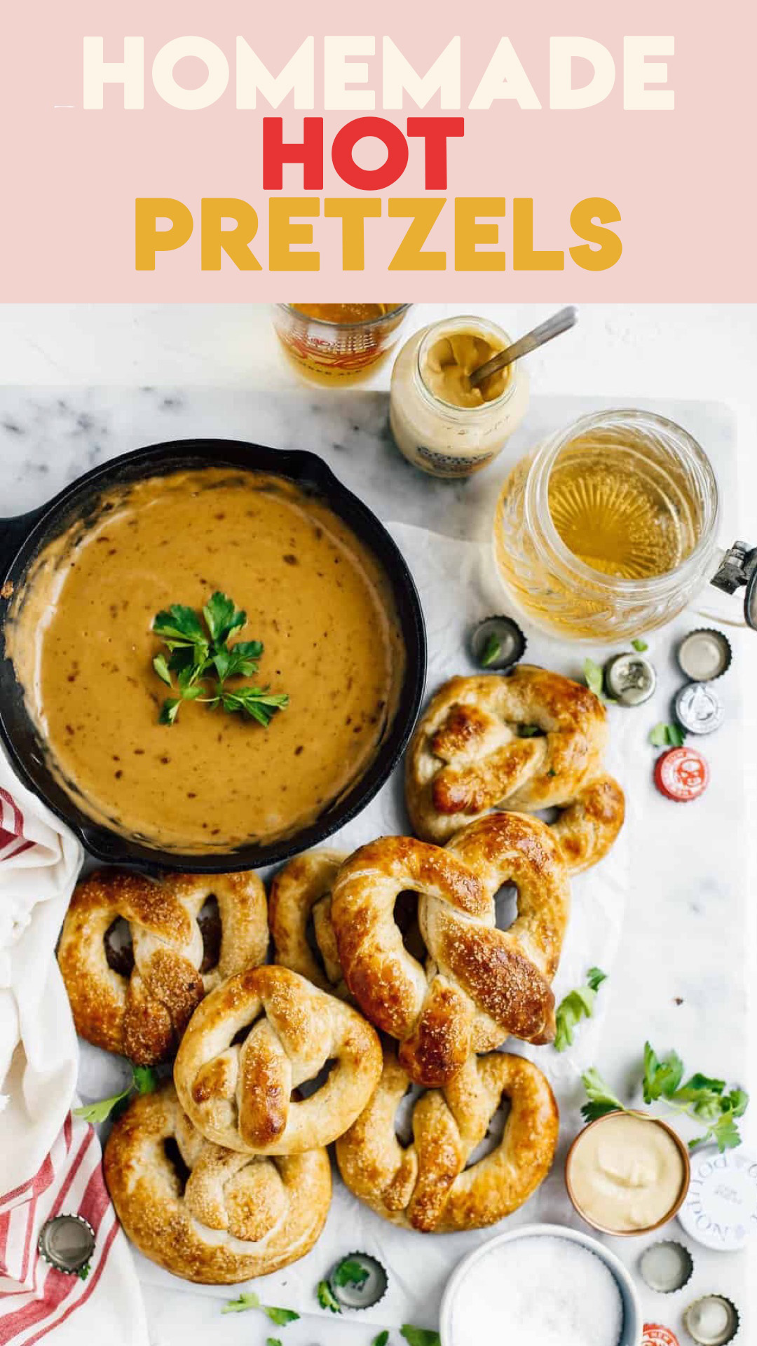 buttery homemade hot pretzels with beer cheese dip