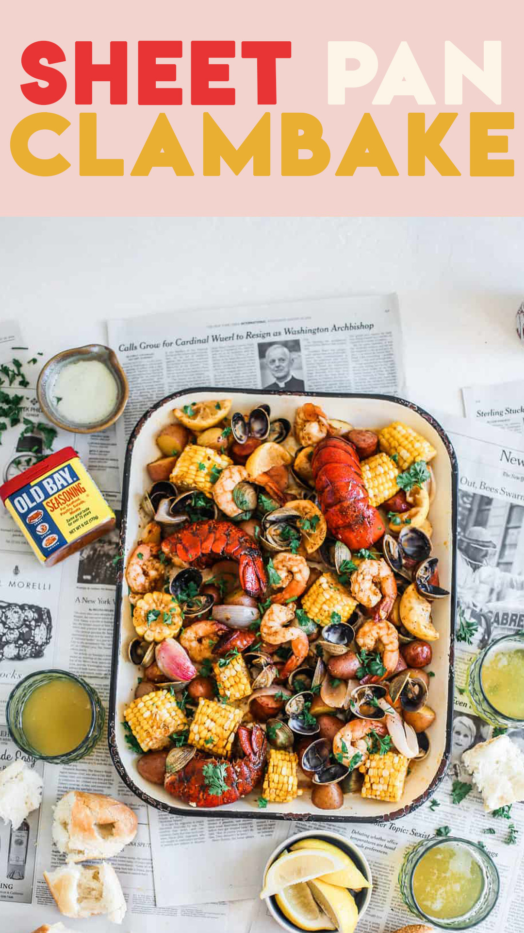 sheet pan clam bake pinterest graphic