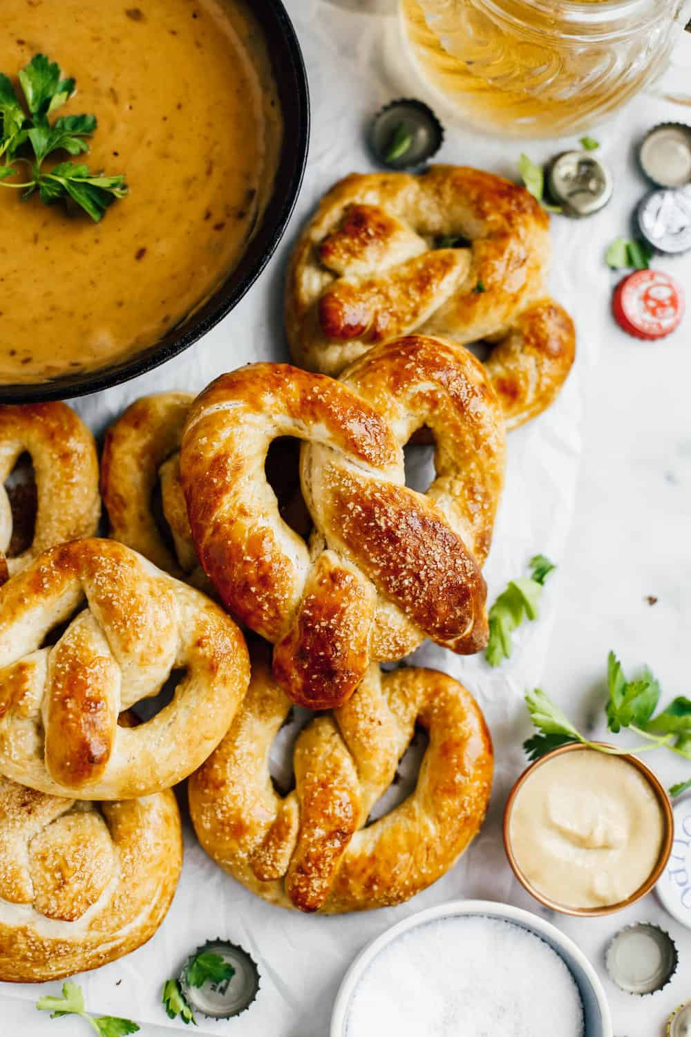 buttery soft pretzels with beer cheese dip