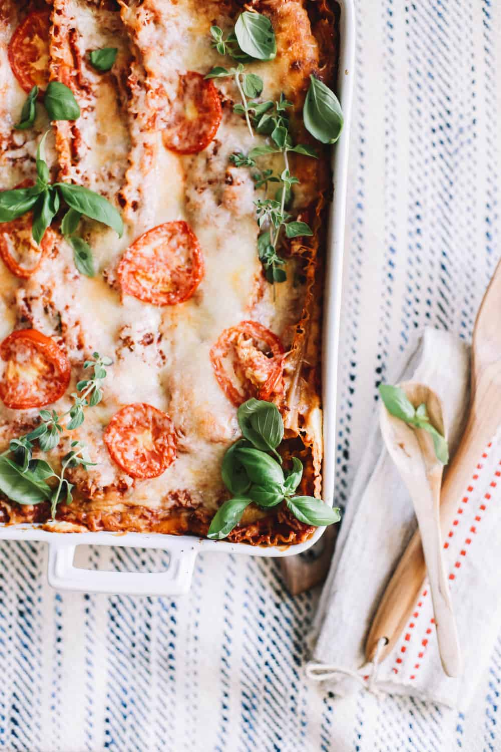 Baked homemade lasagna in a casserole dish