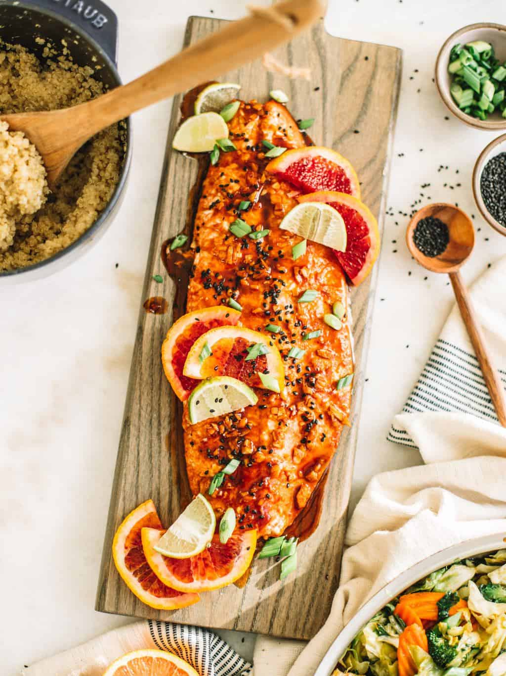Your next weeknight dinner needs to be this blood orange salmon fillet with an easy ginger garlic stir fry. This is a tasy, flavorful and healthy recipe!