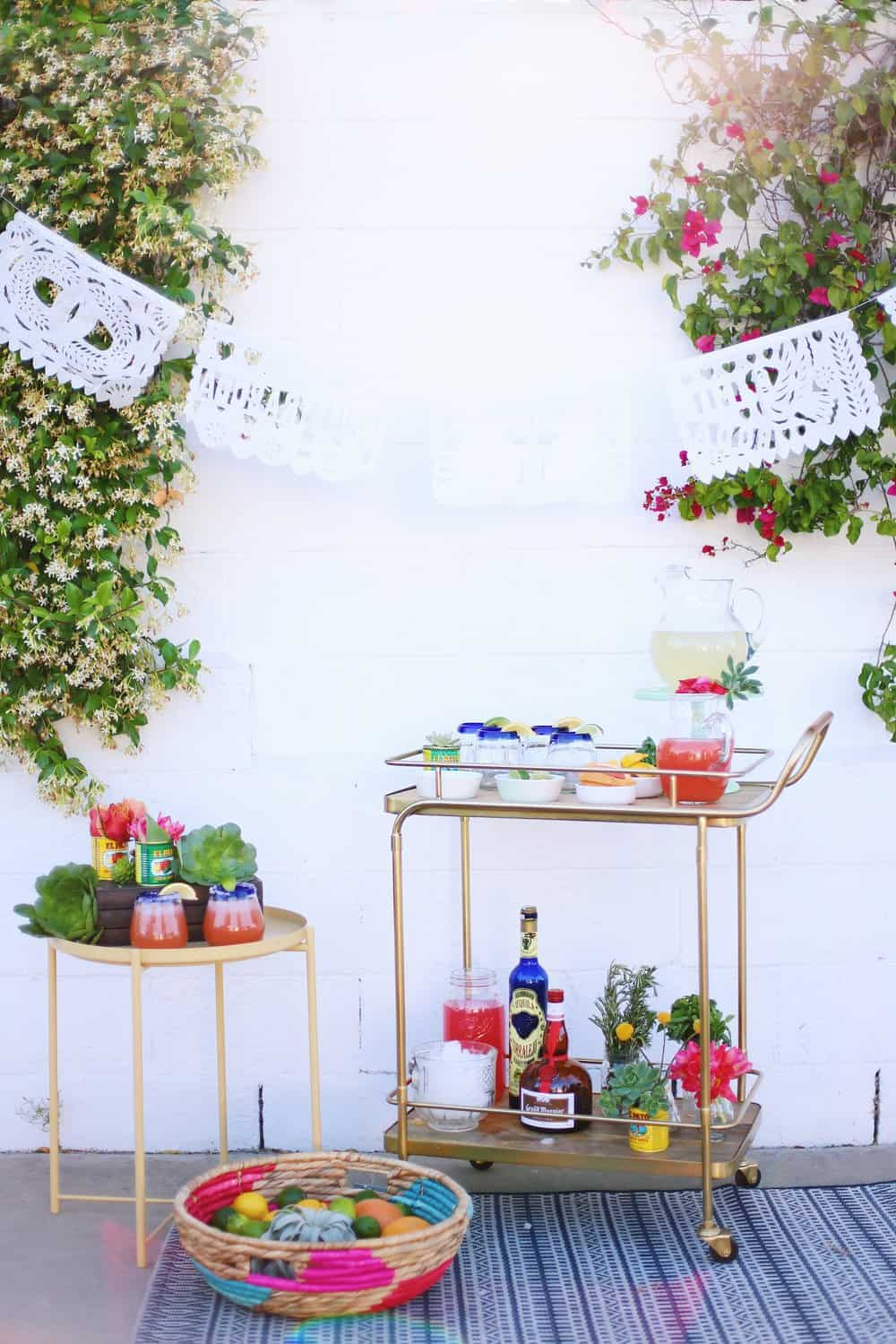 DIY Margarita Bar outside in front of a white backdrop