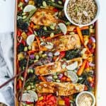 soy, garlic and ginger glazed salmon with broccolini, carrots, peppers and onions on sheet pan