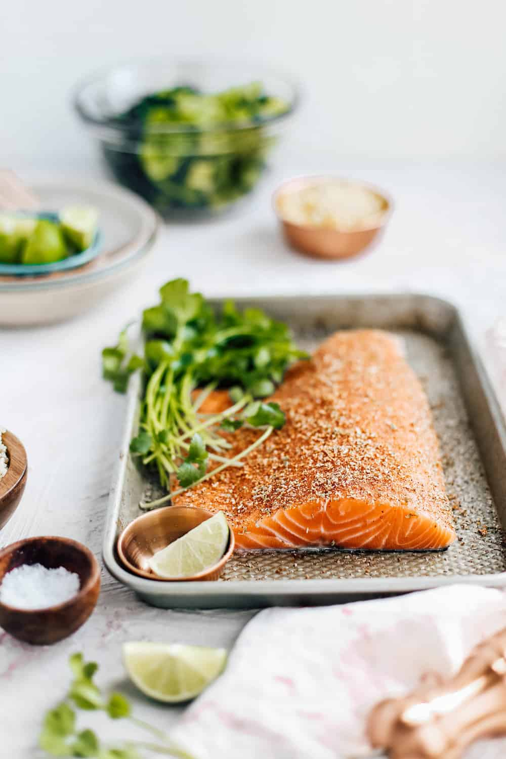 Salmon on a Baking Sheet with Lime and Cilantro