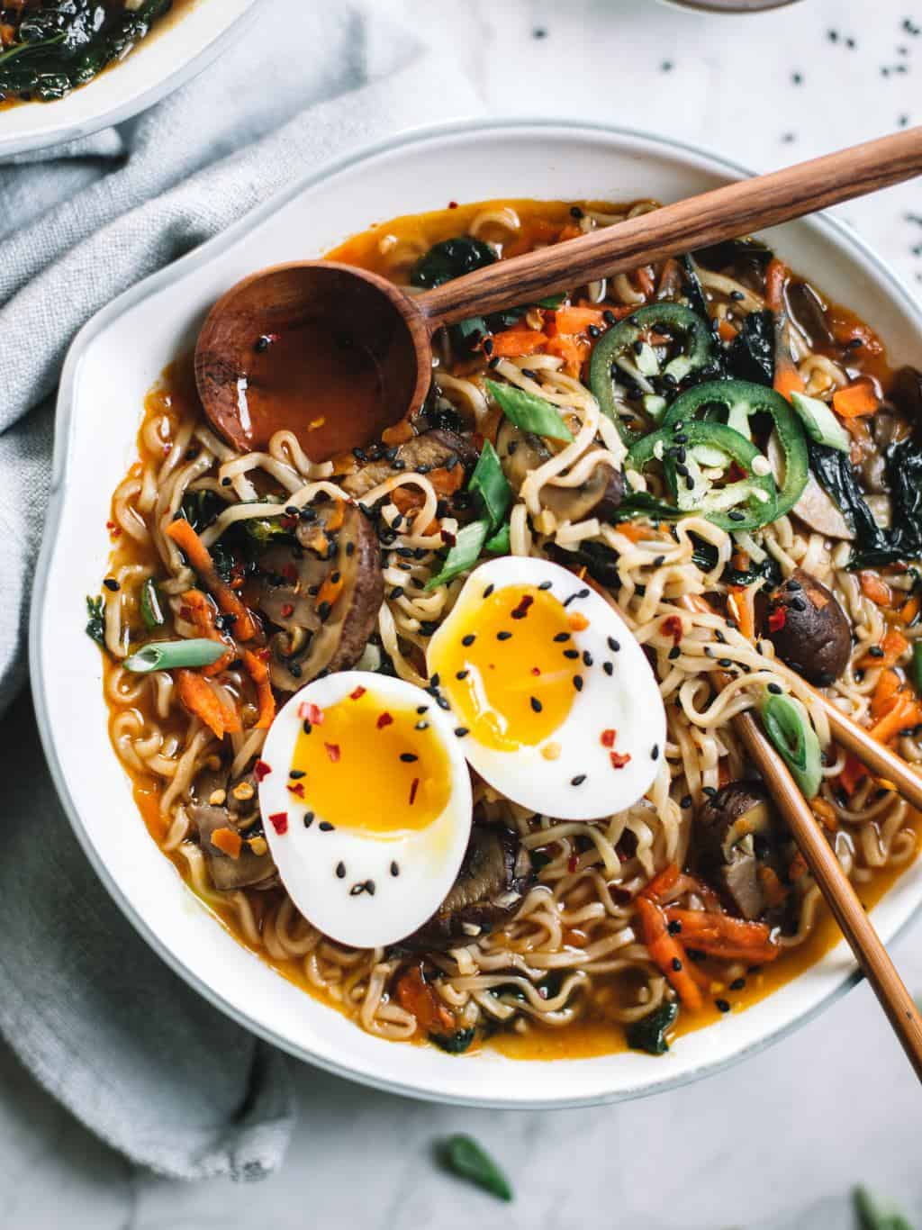 Easy homemade healthy ramen bowls topped with soft boiled eggs.