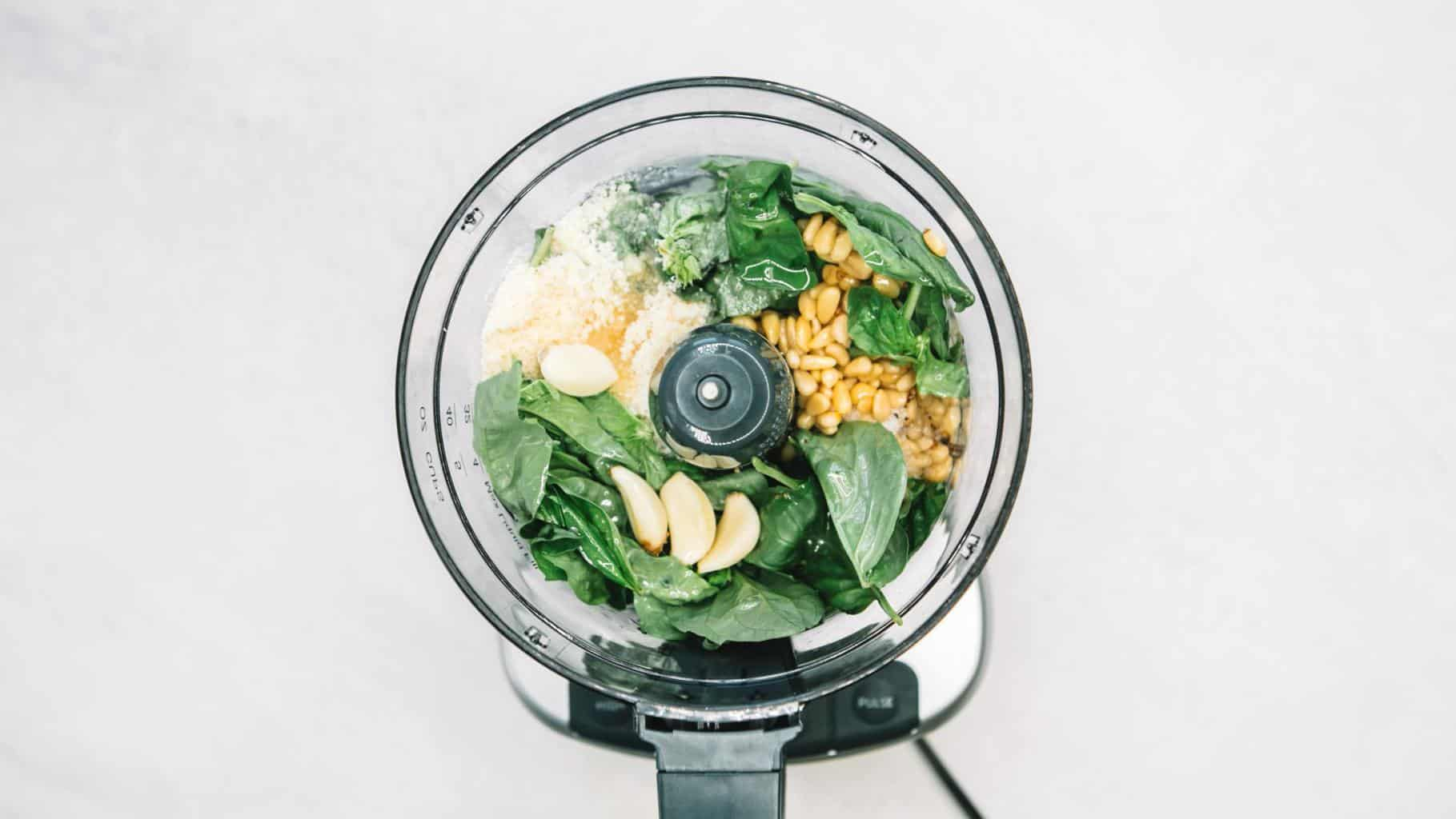 How to make Pesto ingredients in the bowl of a food processor