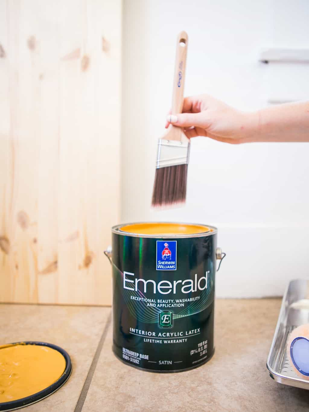 Paint brush with a can of yellow mustard Sherwin Williams paint.