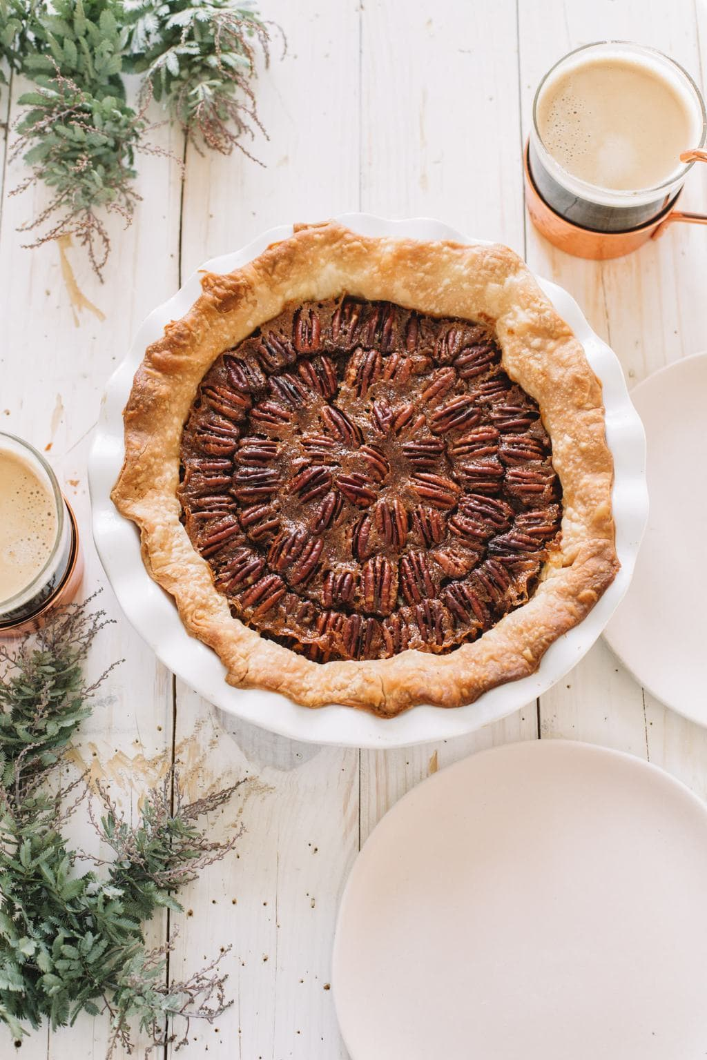 easy pecan pie recipe in white pie dish