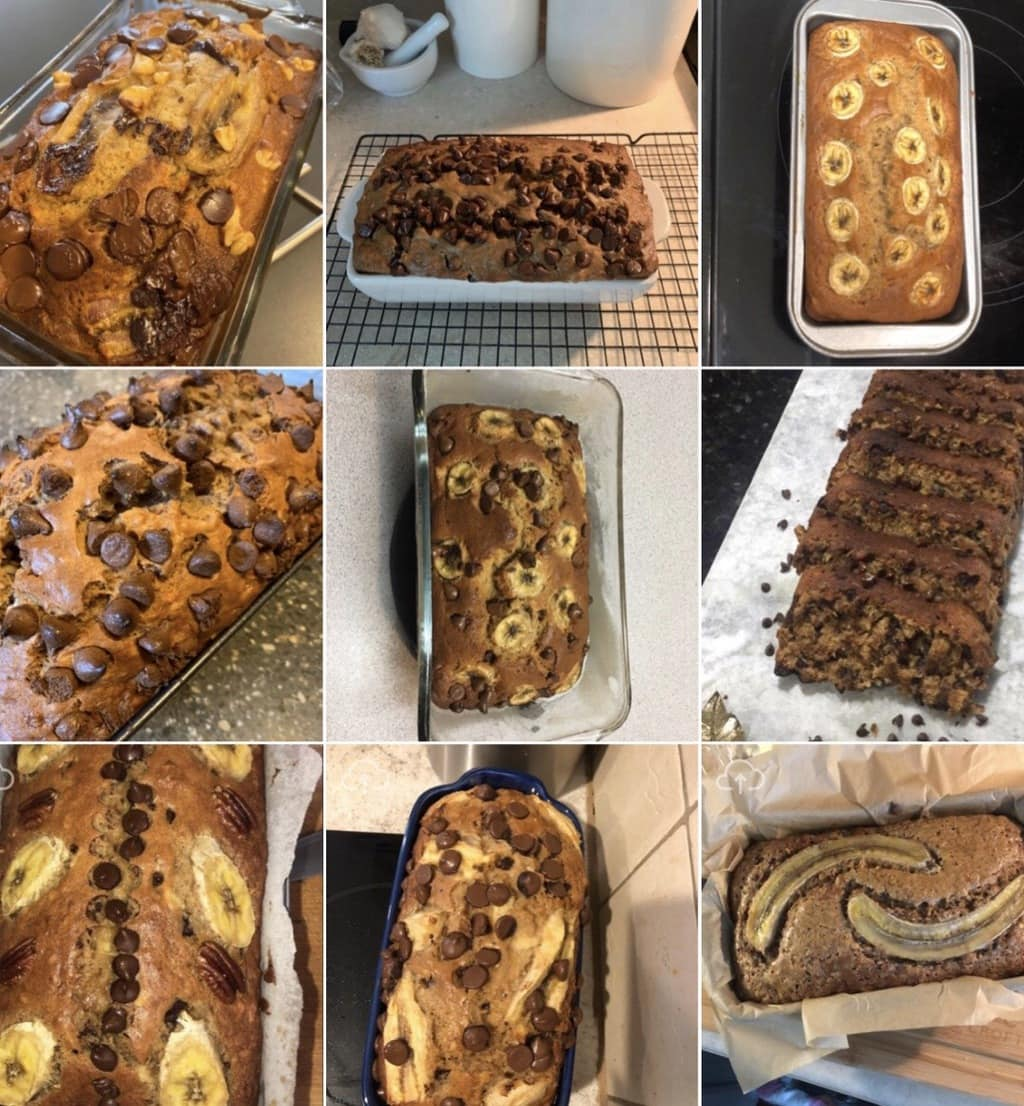 Different variations of readers versions of banana nut bread recipe.