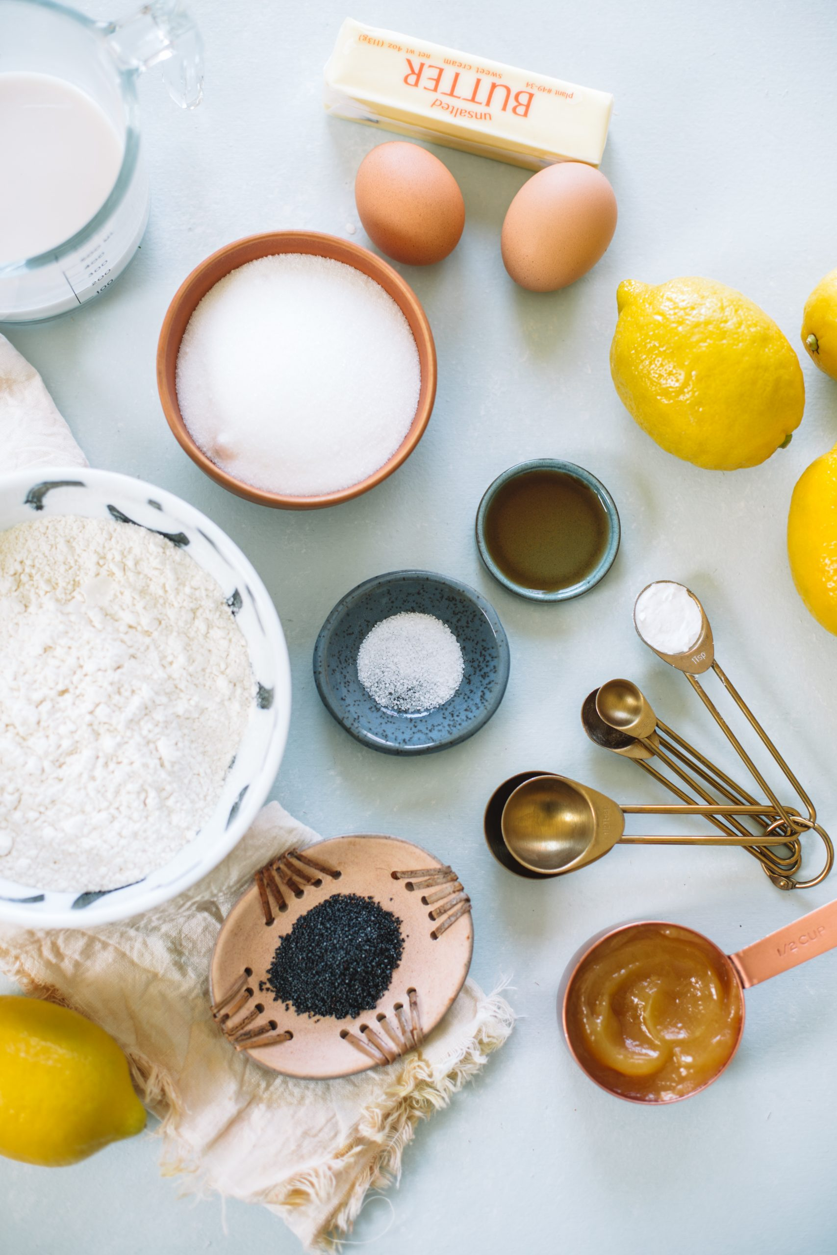 Ingredients to make Lemon Poppyseed Loaf Cake.