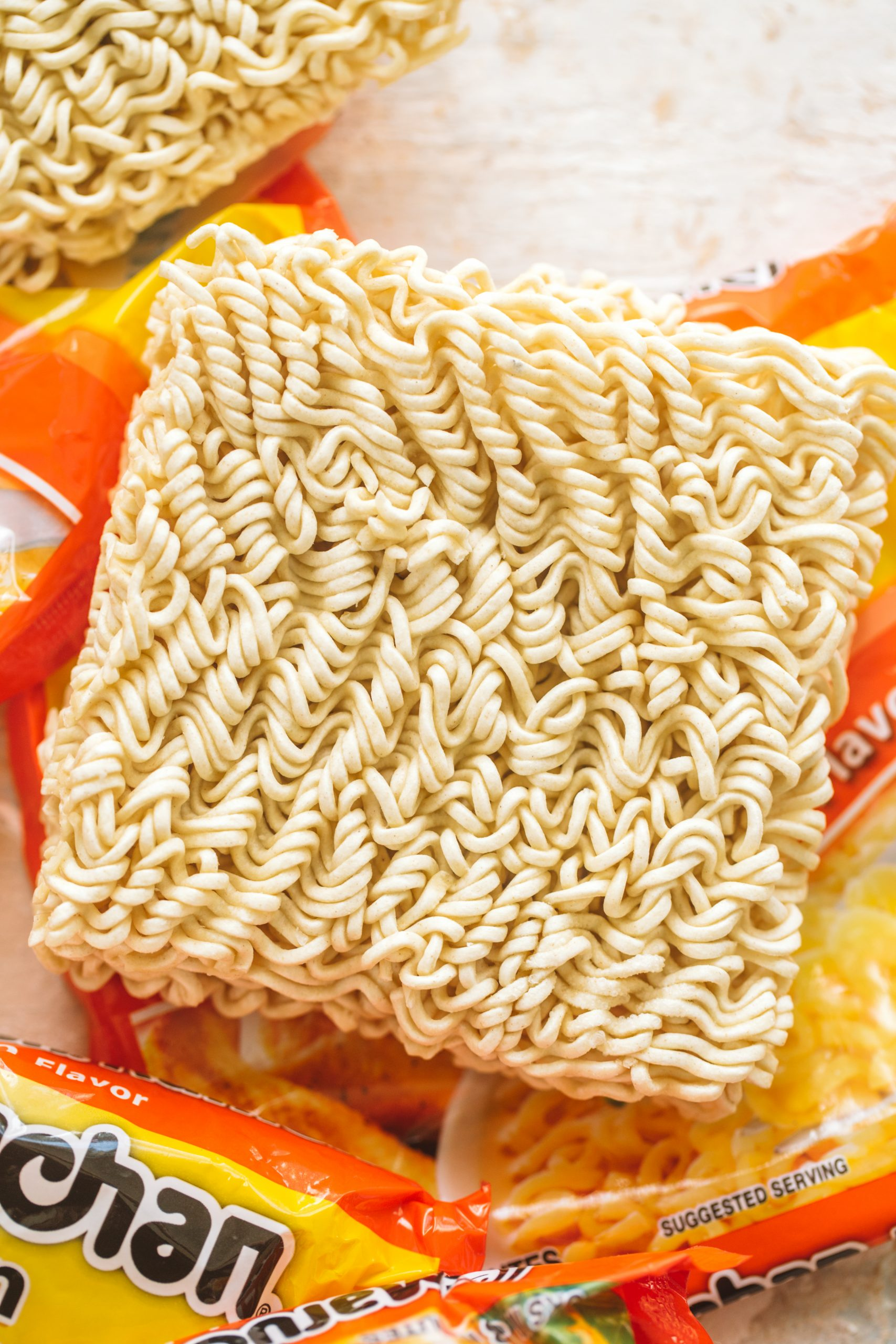 Packaged dry ramen noodles.