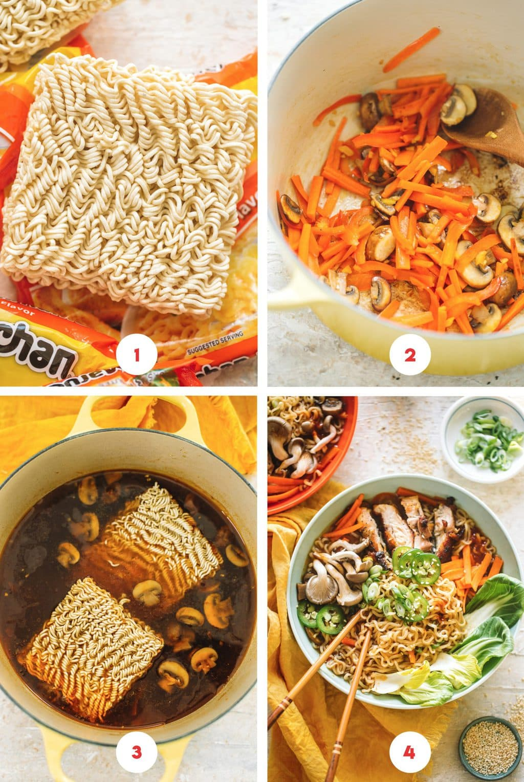 Step by step process on how to make spicy chicken ramen soup.