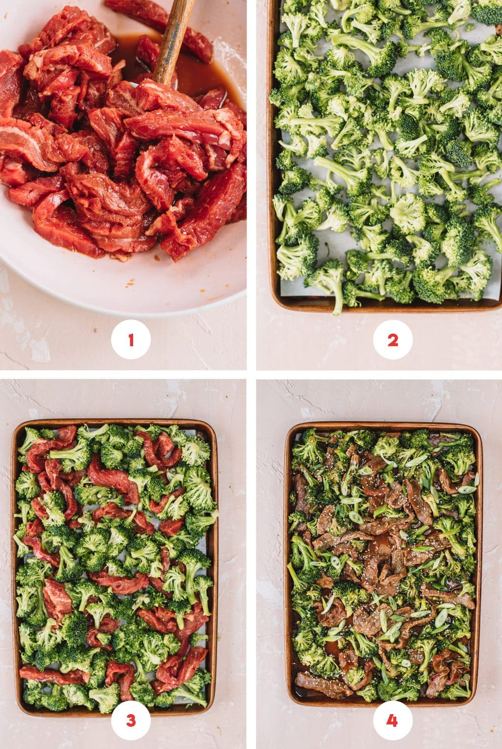 Step by step process on how to make sheet pan beef and broccoli.