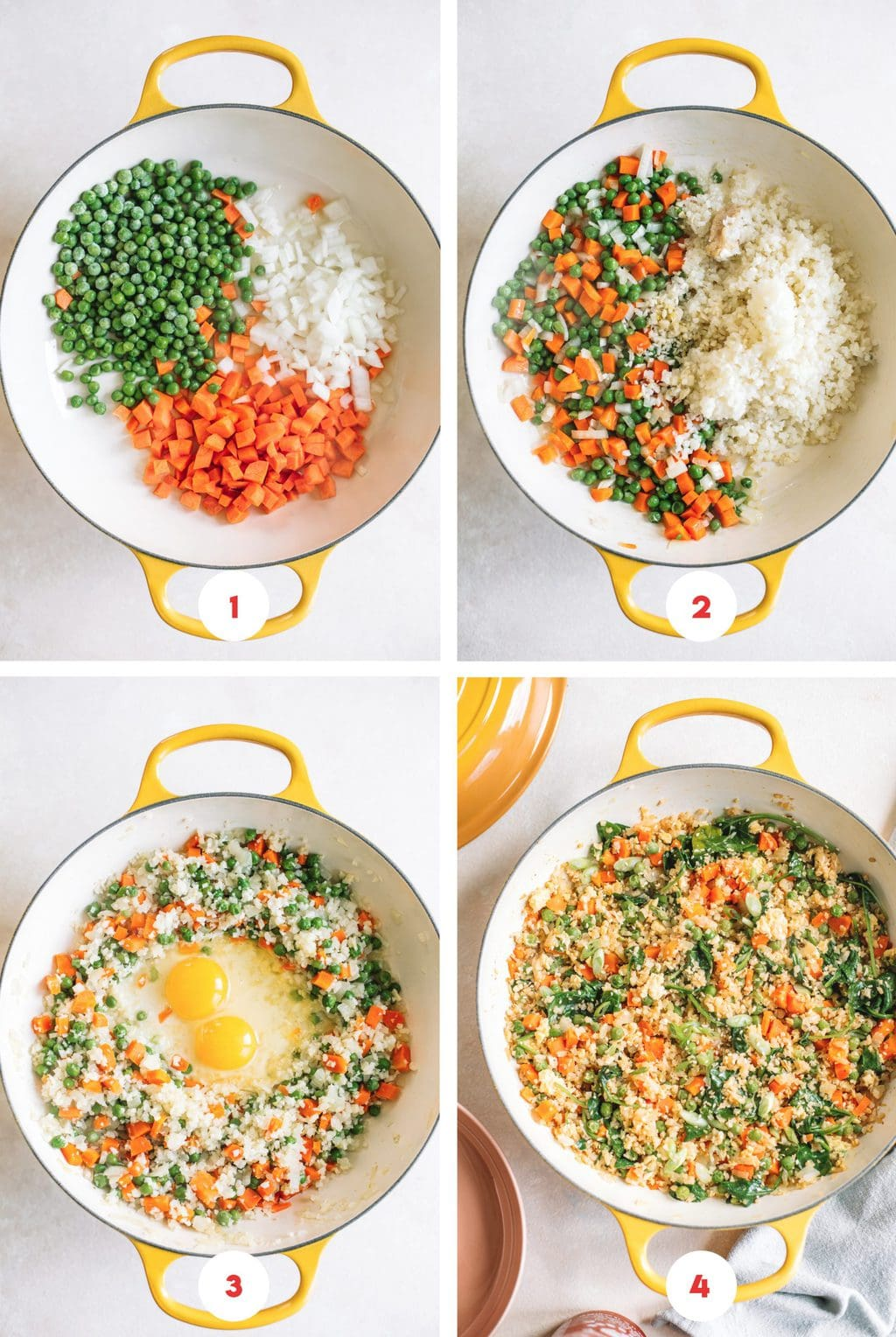 Step by step process how to make cauliflower fried rice.