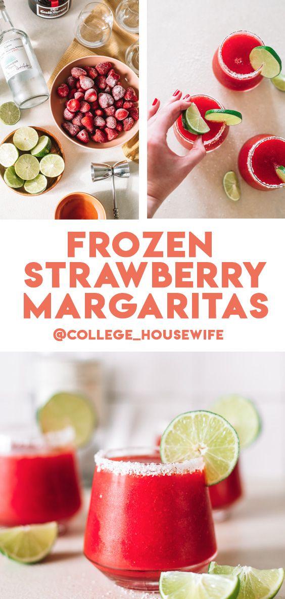 Frozen strawberry margarita pinterest graphic