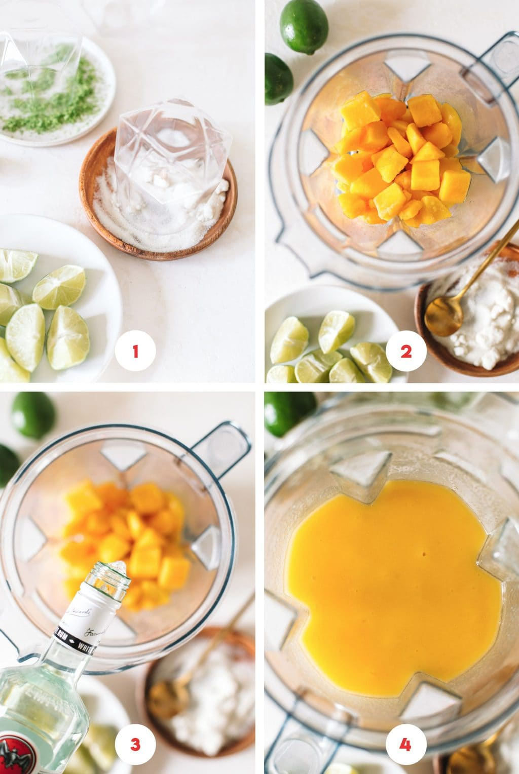 Step by step process on how to make frozen daiquiris in a blender.