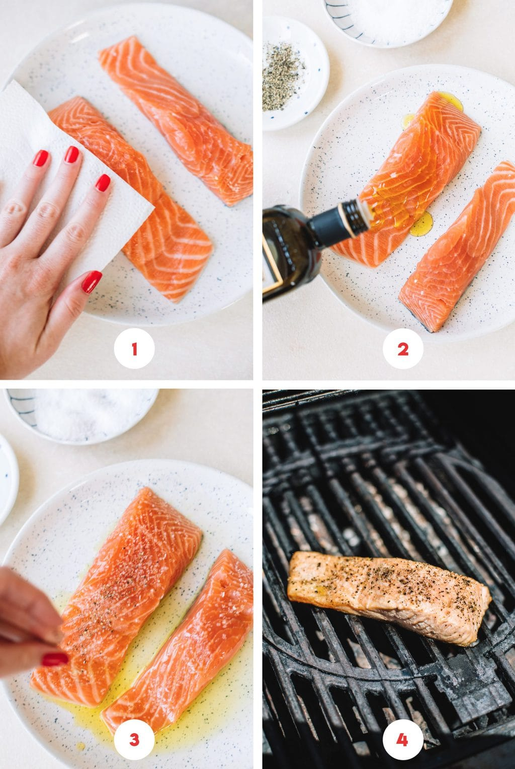 Step by step process on how to prep and grill salmon.