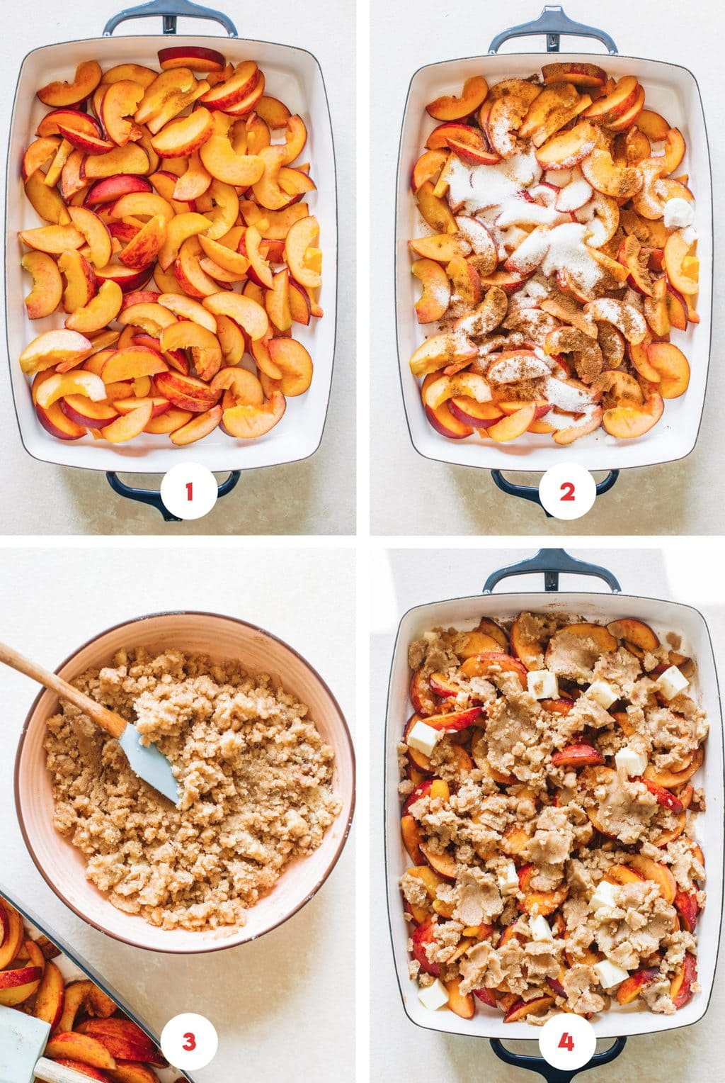 Step by step process on how to make the peach filling and topping for peach cobbler.