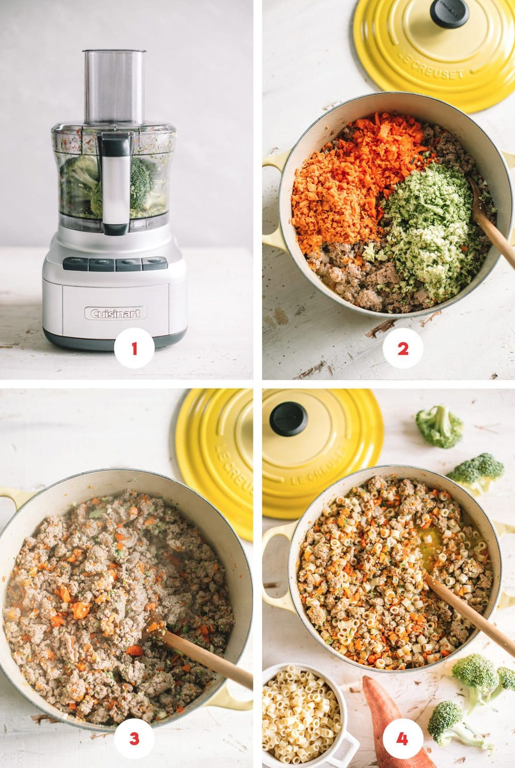 Step by step process on how to make a homemade dog food recipe.