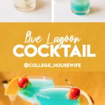 pouring blue caracao in highball glass with one ounce measuring pourer, two blue lagoon cocktails