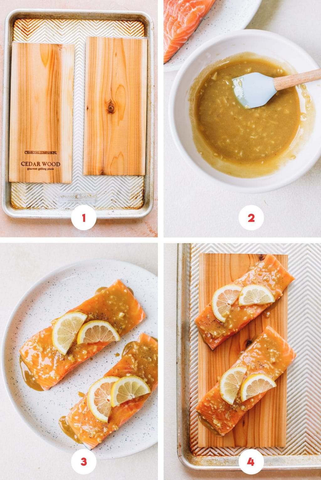 soaking cedar wood planks, mixing brown sugar mustard glaze, salmon fillets on white plate, salmon on cedar plank