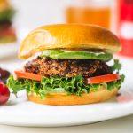 chipotle black bean burger patty on bun with lettuce, tomato, sauce on white plate