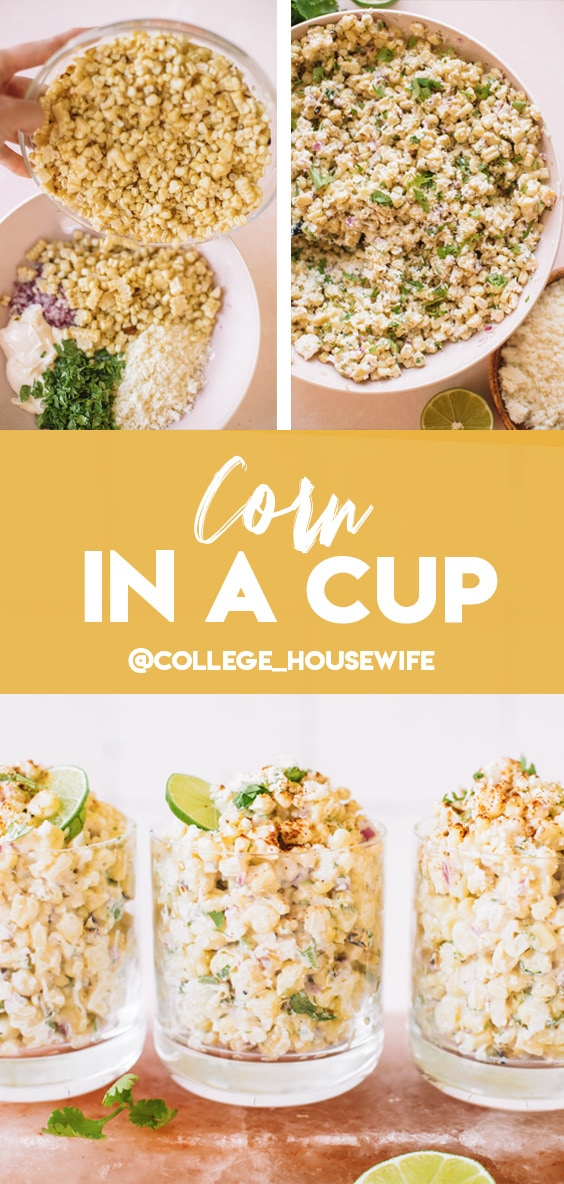Mexican corn in a cup pinterest graphic.