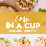 Mexican corn in a cup topped with lime wheels, cotija cheese and cilantro.