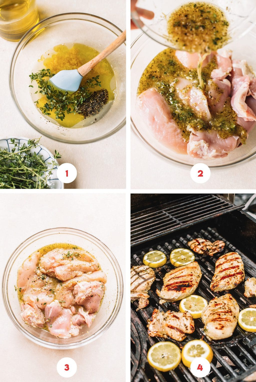 mixing lemon marinade in glass bowl, marinating chicken in bowl, grilling chicken breasts on outdoor grill