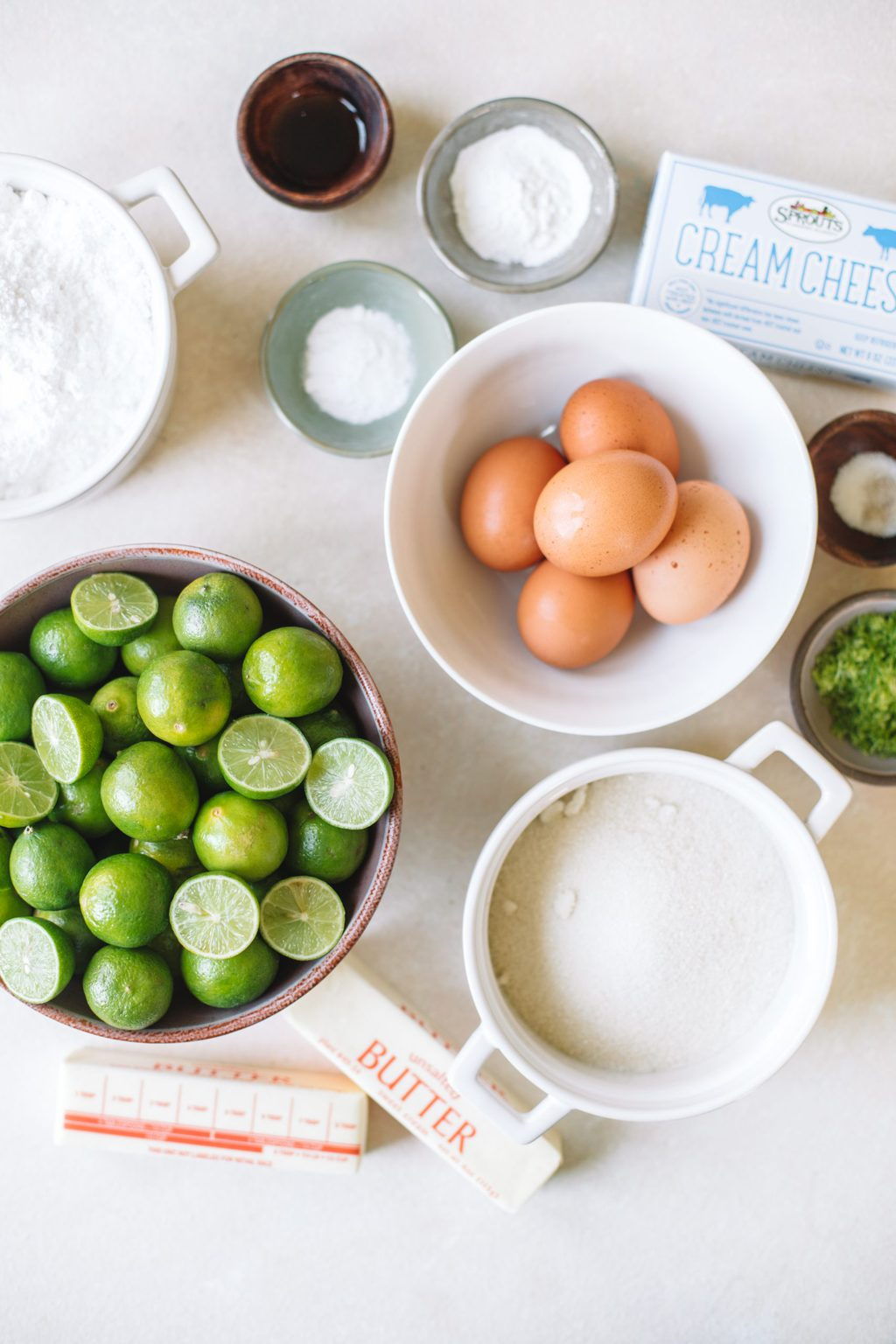 Ingredients for key lime cake.