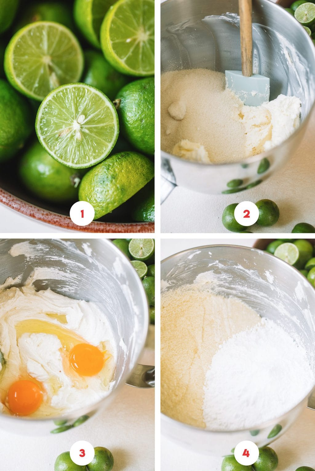 Step by step process on how to make key lime cake batter.