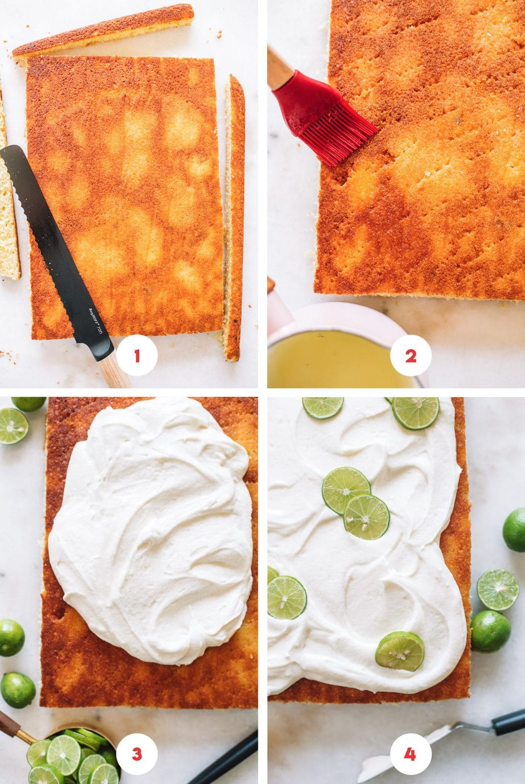 Step by step process on how to put a key lime cake together.