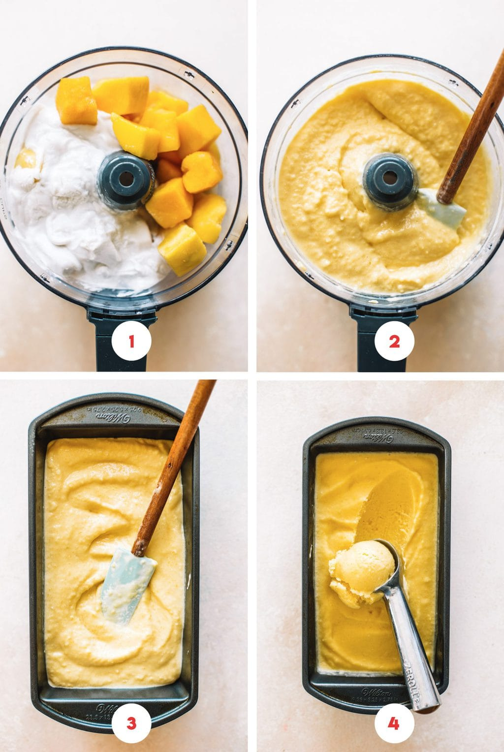 Step by steps on how to make mango ice cream in a food processor.