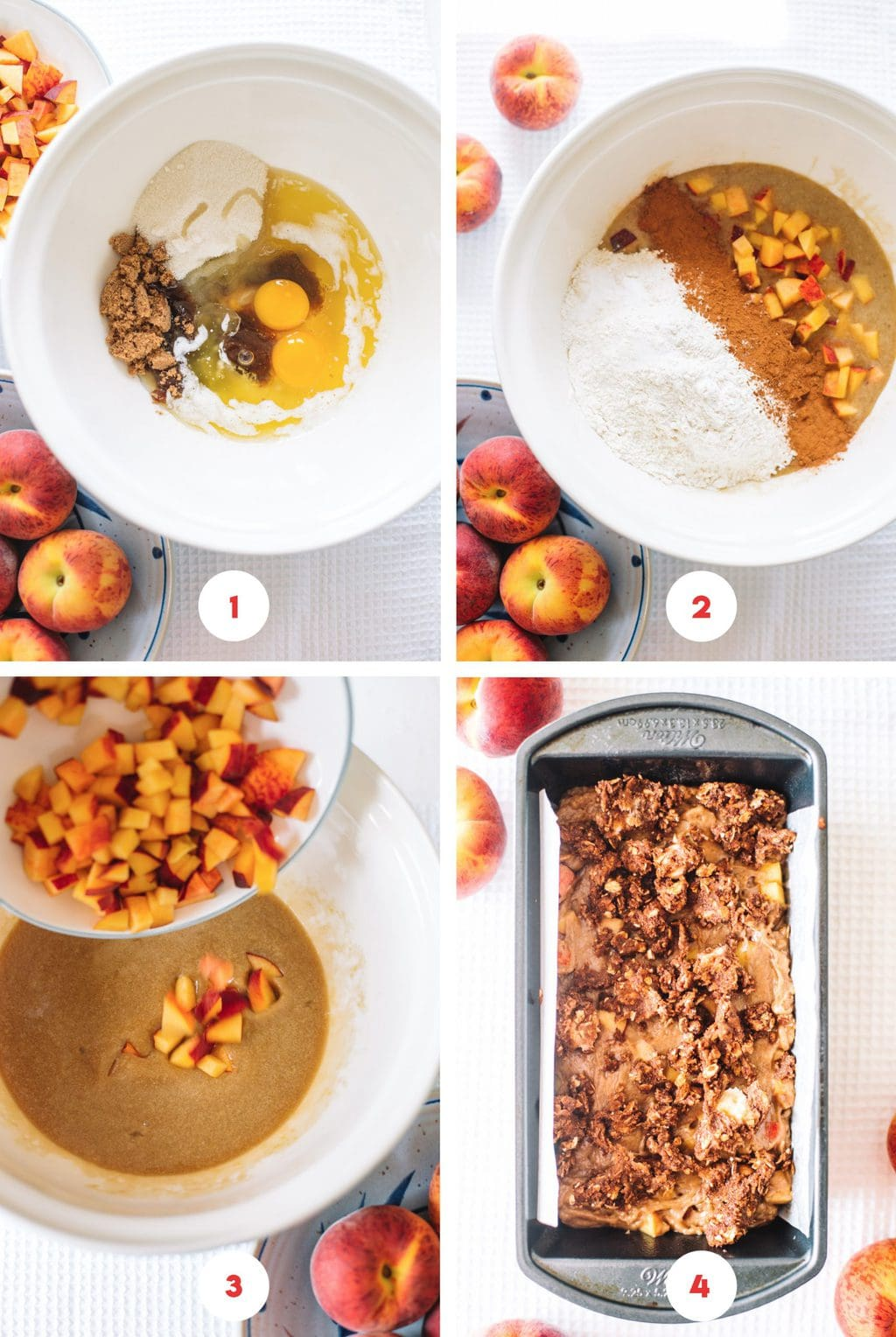 Step by step process on how to make peach bread.