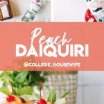frozen peaches in white bowl, bacardi white rum bottle, two frozen peach daiquiris in glasses