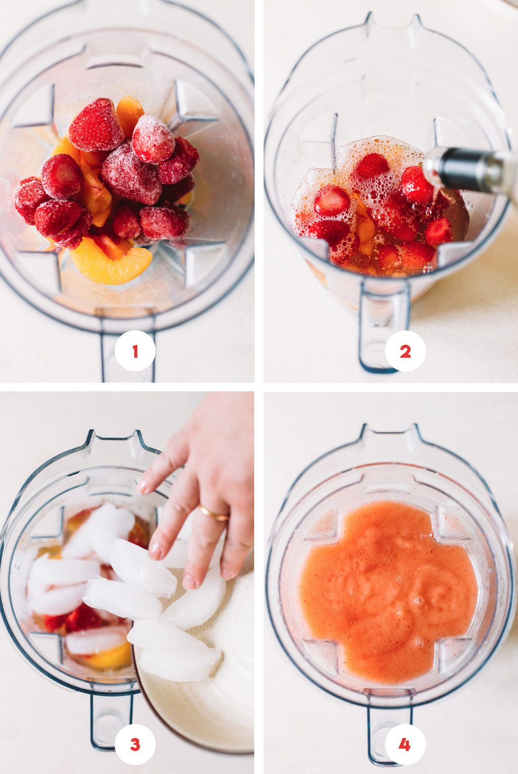 frozen peaches and strawberries in blender, pouring white wine into blender, finished peach slushy