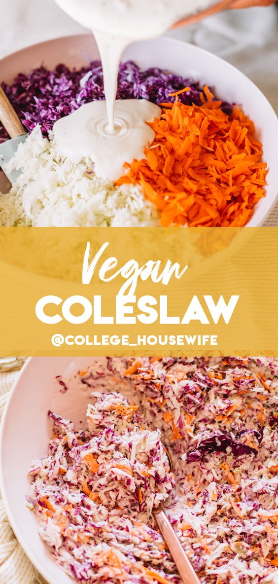 A pink bowl filled with vegan coleslaw with a copper serving spoon.