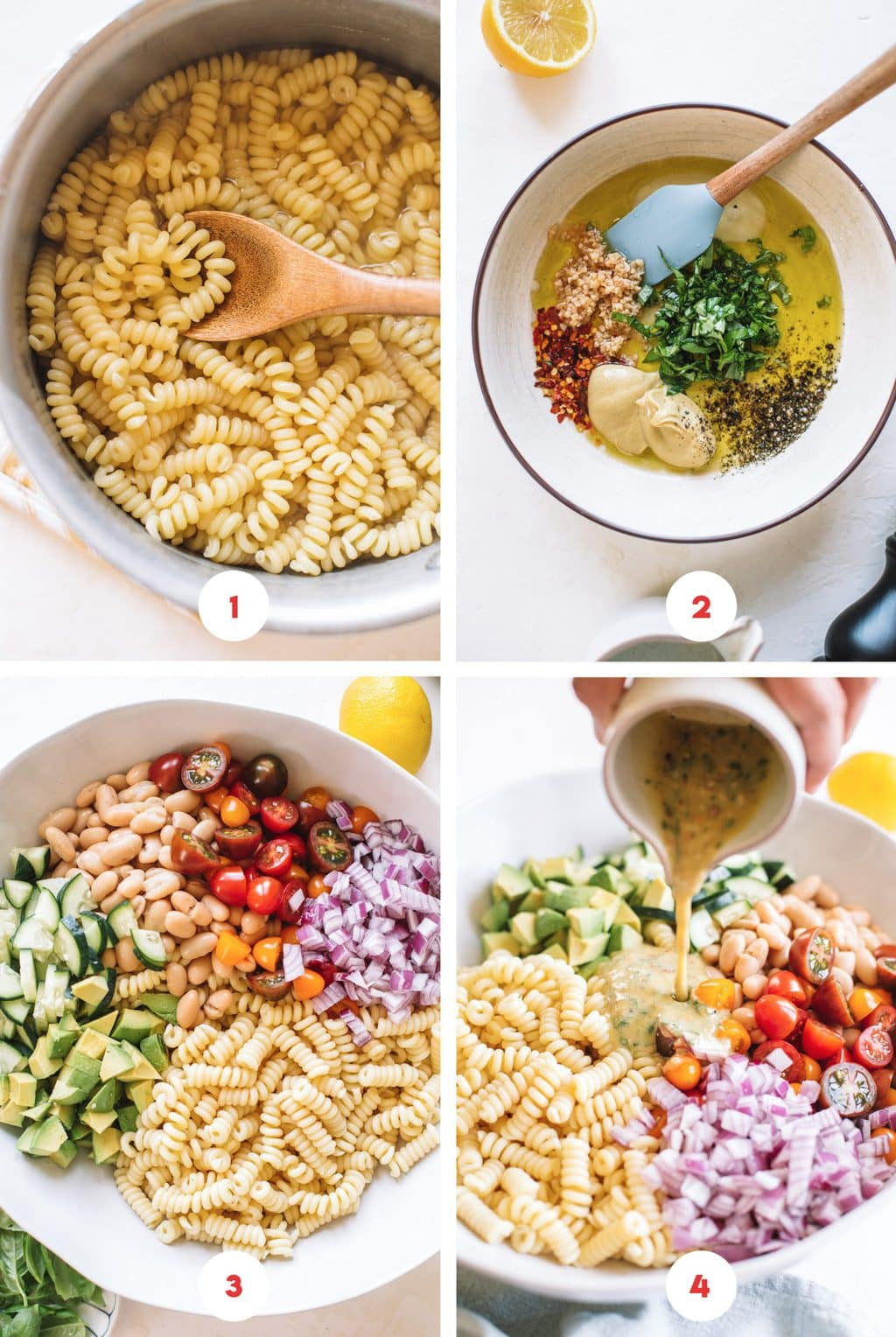 pasta in pot, lemon herb dressing in bowl, pasta salad ingredients in bowl, pouring dressing over pasta salad
