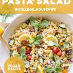vegan pasta salad pinterest graphic