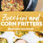 easy zucchini and corn fritters in cast iron skillet and on parchment paper topped with creamy sauce and chives