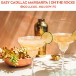 two cadillac margaritas in glasses garnished with lime
