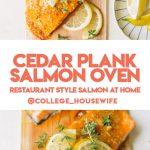 glazed salmon fillets with lemon and fresh thyme on cedar plank