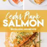 salmon recipe ingredients, glazed salmon fillets with lemon and fresh thyme on white plate and cedar plank