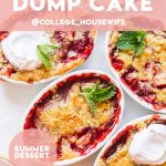 Pinterest graphic on how to make strawberry dump cake.