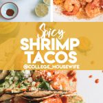raw shrimp, cooking shrimp in skillet, spicy shrimp tacos on white surface