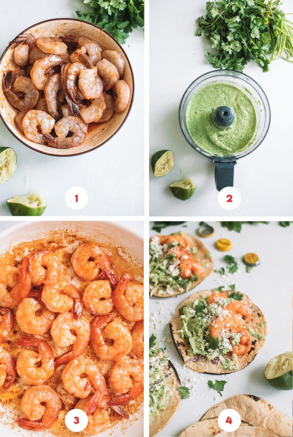 marinating shrimp in bowl, avocado crema in food processor, cooking shrimp in skillet, spicy shrimp tacos with cilantro lime slaw