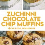 shredded zucchini, chocolate chips, walnuts and muffin batter in glass bowl, zucchini muffins on wire rack