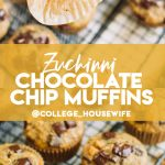 hand holding zucchini muffin with bite taken out, zucchini chocolate chip muffins on wire rack
