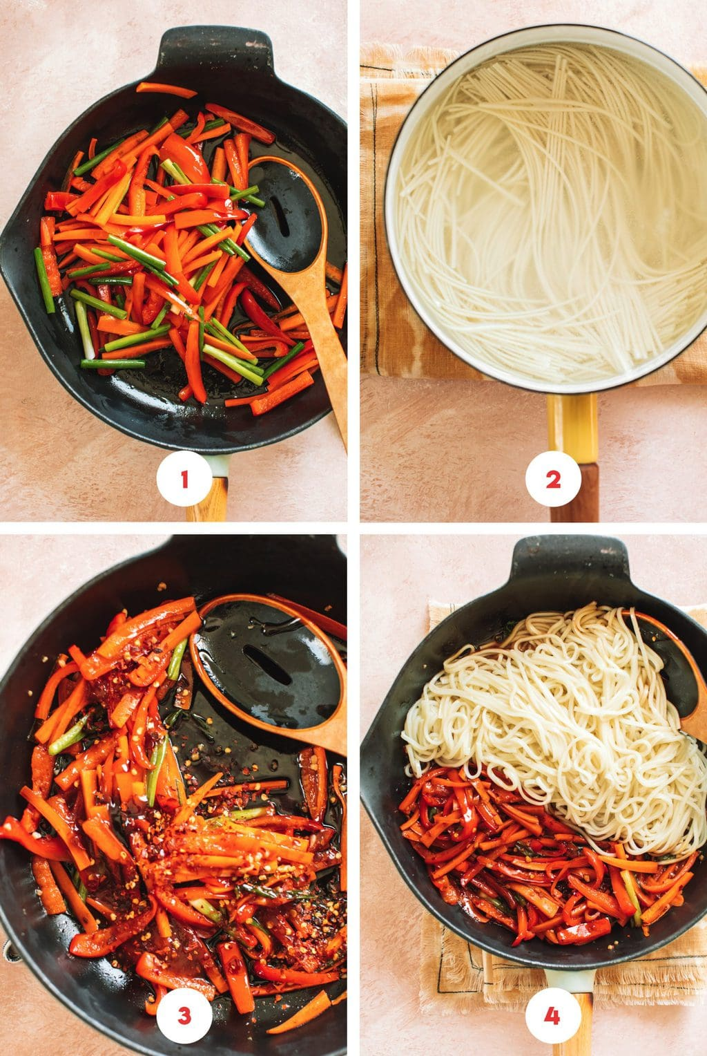 four grid step by step photo for lo mein noodles with chili garlic sauce